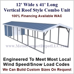 Carport With Storage Vertical Roof Style Metal Combo Unit 12' x 41' x 6'