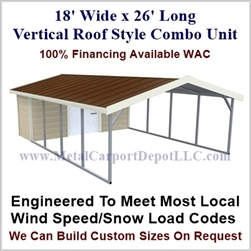 Carport With Storage Vertical Roof Style Metal Combo Unit 18' x 26' x 6'