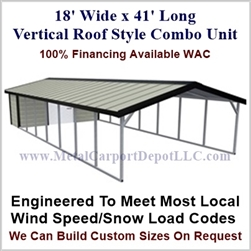 Carport With Storage Vertical Roof Style Metal Combo Unit 18' x 41' x 6'