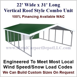 Carport With Storage Vertical Roof Style Metal Combo Unit 22' x 31' x 6'