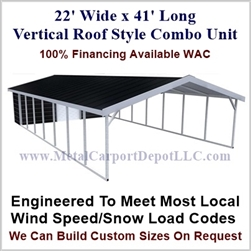 Carport With Storage Vertical Roof Style Metal Combo Unit 22' x 41' x 6'