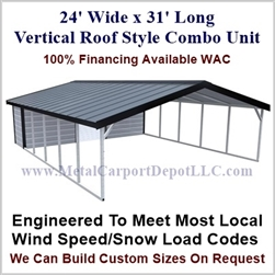 Carport With Storage Vertical Roof Style Metal Combo Unit 24' x 31' x 6'