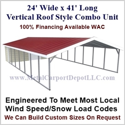 Carport With Storage Vertical Roof Style Metal Combo Unit 24' x 41' x 6'