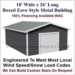 Metal Buildings Boxed Eave Style 18' x 26' x 8'