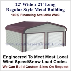 Metal Buildings Regular Style Metal 22' x 21' x 7'