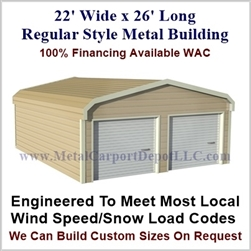 Metal Buildings Regular Style Metal 22' x 26' x 7'