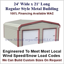 Metal Buildings Regular Style Metal 24' x 21' x 7'