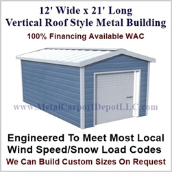 Metal Buildings Boxed Eave Style 12' x 21' x 8'