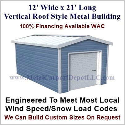 12\' x 21\' Vertical Roof Style Metal Building. Just $3,960.00 Plus ...
