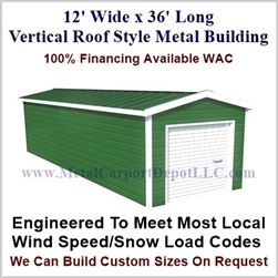 Metal Buildings Boxed Eave Style 12' x 36' x 8'