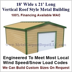 Metal Buildings Boxed Eave Style 18' x 21' x 8'