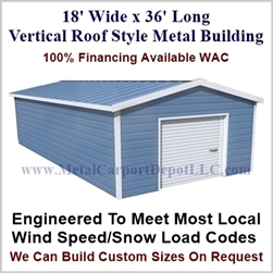 Metal Buildings Boxed Eave Style 18' x 36' x 8'