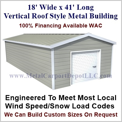 18\' x 41\' Vertical Roof Style Metal Building. Just $7,115.00 Plus ...