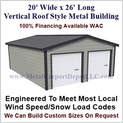 Metal Buildings Boxed Eave Style 20' x 26' x 8'