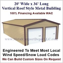 Metal Buildings Boxed Eave Style 20' x 36' x 8'