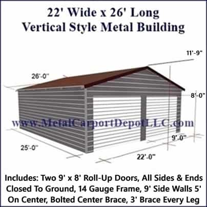 22\' x 26\' Vertical Roof Style Metal Building. Just $6,790.00 Plus ...