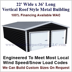 Metal Buildings Boxed Eave Style 22' x 36' x 8'