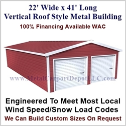 Metal Buildings Boxed Eave Style 22' x 41' x 8'