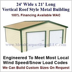 Metal Buildings Boxed Eave Style 24' x 21' x 8'