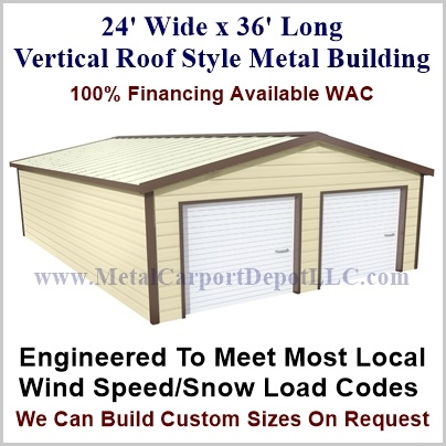24\' x 36\' Vertical Roof Style Metal Building. Just $8,525.00 Plus ...