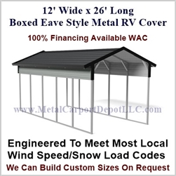 12' x 26' Boxed Eave Style Metal RV Cover