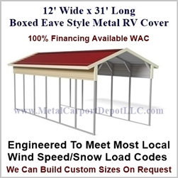 12' x 31' Boxed Eave Style Metal RV Cover