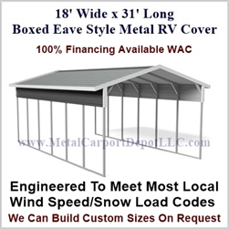 18' x 31' Boxed Eave Style Metal RV Cover