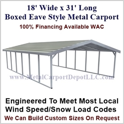 Boxed Eave Style Metal Carport 18' x 31' x 6'