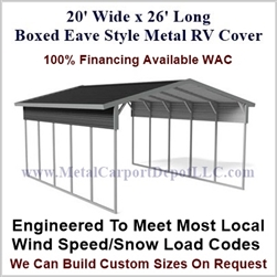 20' x 26' Boxed Eave Style Metal RV Cover