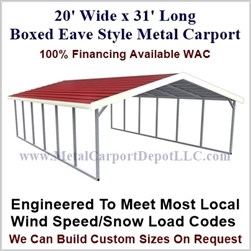Boxed Eave Style Metal Carport 20' x 31' x 6'