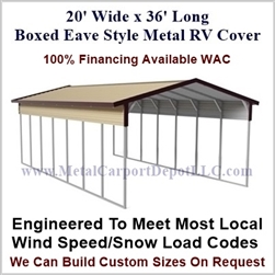 20' x 36' Boxed Eave Style Metal RV Cover
