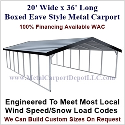 Boxed Eave Style Metal Carport 20' x 36' x 6'