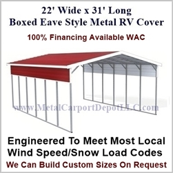 22' x 31' Boxed Eave Style Metal RV Cover