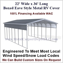 22' x 36' Boxed Eave Style Metal RV Cover