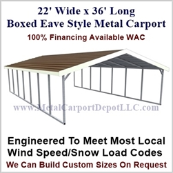Boxed Eave Style Metal Carport 22' x 36' x 6'