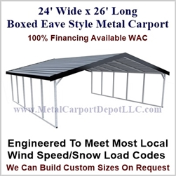 Boxed Eave Style Metal Carport 24' x 26' x 6'