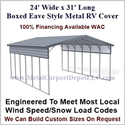 24' x 31' Boxed Eave Style Metal RV Cover