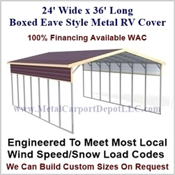 24' x 36' Boxed Eave Style Metal RV Cover