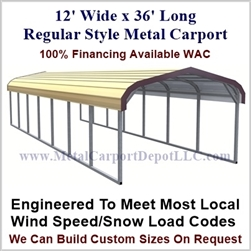 Eagle 12' x 36' Regular Style Metal Carport
