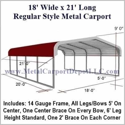 18\' x 21\' Regular Style Metal Carport. $1,220.00 - Free Installation!