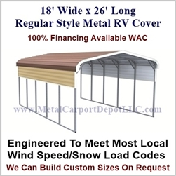 18' x 26' Regular Style Metal RV Cover