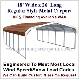 18' x 26' x 5' Regular Style Metal Carport