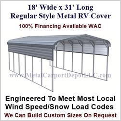 18' x 31' Regular Style Metal RV Cover