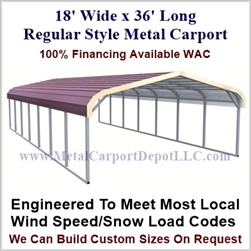 Regular Style Metal Carport 18' x 36' x 5'