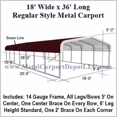 18\' x 36\' Regular Style Metal Carport. $2,070.00 - Free Installation!