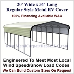 20' x 31' Regular Style Metal RV Cover