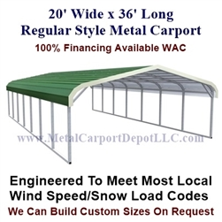 Regular Style Metal Carport 20' x 36' x 5'