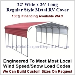 22' x 26' Regular Style Metal RV Cover