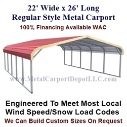 Regular Style Metal Carport 22' x 26' x 5'