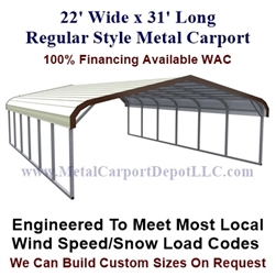 Regular Style Metal Carport 22' x 31' x 5'